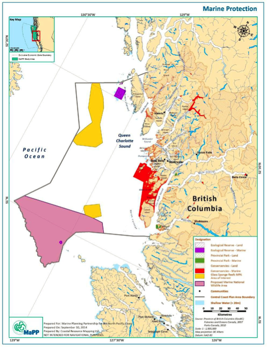 Proposed and existing marine protection in the Central Coast Marine Plan area
